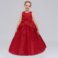 Kids Dresses for Girls Wedding Tulle Lace Long Girl Dress Flower Elegant Princess Party Pageant Formal Gown for Teen Children(China)