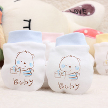 3 colors 100% cotton 0-6 months Newborn baby mittens cartoon face anti grasping breathable and warm infant gloves