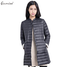 Gamiss Autumn Women Long Light Jackets Coats Chic Collarless Long Sleeve Single Breasted Solid Color Women Padded Coat Parkas(China)