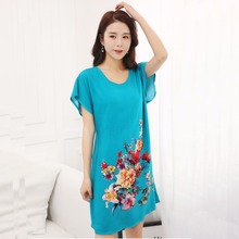 Lady Blue Cotton Soft Nightgowns Sleepwear Chinese Style Print Women's Nightdress Flowers Night Dress Home Wear One Size SG051(China)