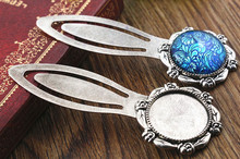 New Fashion 2pcs 20mm Inner Size Antique Silver Simple Style Handmade Bookmark Cabochon Base Cameo Setting (H1-11)(China)