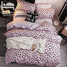 Striped Print Bedding Sets Pink Leopard Series Pink Leopard Series Duvet Cover Set Flat Sheet Pillowcase Single/Double Bed(China)