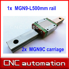 1pc 9mm width linear guide rail 500mm MGN9 +  2pc MGN MGN9C Blocks carriage for CNC