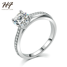 Sliver Color Classic Simple Design 4 Prong Sparkling Solitaire 1ct Zirconia Crystal Forever Wedding Ring bijoux R486