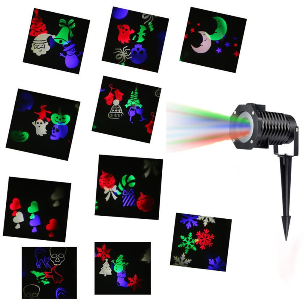 Home Garden Star Light Outdoor LED Stage Lighting Effect 10 Patterns Christmas Snowflake Holloween Projector Lamp <br>