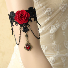 Handmade Armband Rhinestone Drop Red Flower Chain Black Lace Arm Band Armlet Bracelet Dance Gothic Jewelry Retro