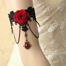 Handmade Armband Rhinestone Drop Red Flower Chain Black Lace Arm Band Armlet Bracelet Dance Gothic Jewelry Retro(China)