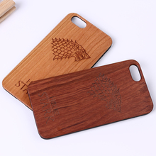 For iPhone 5 5S 6 6S 6Plus 7 7Plus SAMSUNG Galaxy S6 S7 Edge S8 Plus Game of Thrones House Stark Laser Engraved Real Wood Case