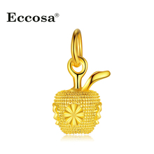 Eccosa Golden Apple Bead Charm Fit Pandora Charms Bracelets & Bangles Accessories For Diy Jewelry Making New Year Decoration(China)