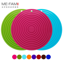 ME.FAM New XL Size 28CM Ripples Silicone Mat Non-slip Heat Resistance Placemat Bowl Plate Pad For Cafe Kitchen Restaurant Office(China)