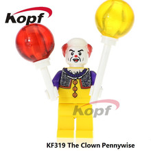 Super Heroes Pennywise Costume Adult Scary Clown It Halloween Fancy Dress Joker Bricks Building Blocks Toys for children KF319(China)