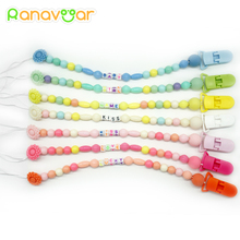 Personalised- Any Name Pacifier Clips Gift Dummy Handmade Pacifier Chain Holder Baby Nipple Feeding Kid Garment Clip NZL02(China)