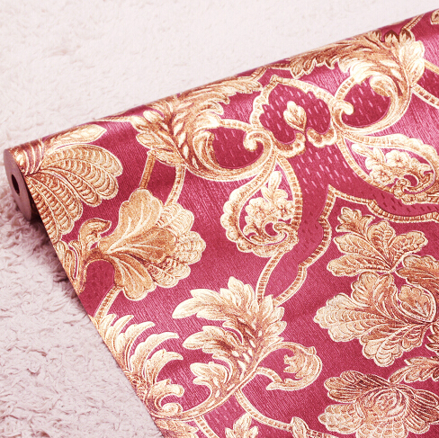 New 3D embossed flowers Romantic red background wallpaper 3D Damascus luxury mural wallpaper roll 3D Rose wall paper living room<br>