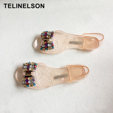 Summer Han Edition New Jelly Shoes Bohemia Bowknot Transparent Crystal Female Sandals Antiskid Flat Beach Shoes