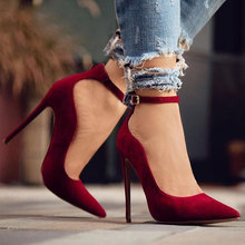 LALA IKAI Women Pumps Spring Autumn Shallow Pointed Toe Buckle Shoes Flock High Heels Pumps Shoes Ladies XWC1293-5