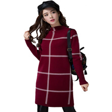 Knitted Dress 2017 Autumn Winter Turtleneck Sweater Women jersey mujer jumper Plaid Sweaters For Woman Casual Elegant Dress
