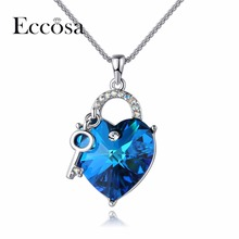 ECCOSA Hot Sell Heart Lock Necklaces & Pendants Romantic Statement Necklace Woman Valentines Jewelry Crystal From Swarovski(China)