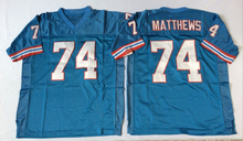 Embroidered Logo Bruce Matthews 74 throwback high school FOOTBALL JERSEY sky blue for fans gift cheap 1104-11(China)