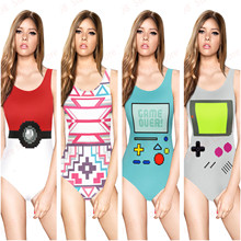 Funny Game Pattern Women Swimwear Red Poke Ball Bodysuit Handheld Game Sound Pixels Bathing Suits PACMAN One Piece Swimsuits