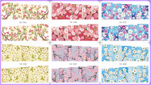 6 PACK/ LOT  WATER DECAL NAIL ART NAIL STICKER FULL PAGE PLUM BLOSSOM FLOWER YB595-600