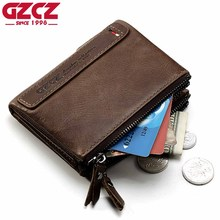 GZCZ Brand Genuine Cowhide Leather Men Wallets Card Holder Mini With Double Zipper Coin Purse Pocket Portomonee Rfid Small Walet(China)
