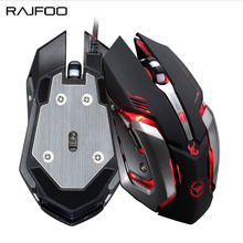 RAJFOO Gaming Mouse Mice Ajustable 3200DPI 6 Buttons Optical Macro Programming USB Game Mouse Gamer Mice 4 Color Breathing Light(China)