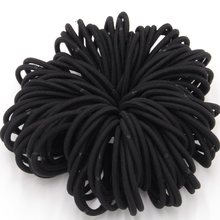 100pcs/lot Black Color Rope Elastic Hair Ties 4mm Thick Hairbands Girl's Hair Bands,Hair Accessories, Headwear