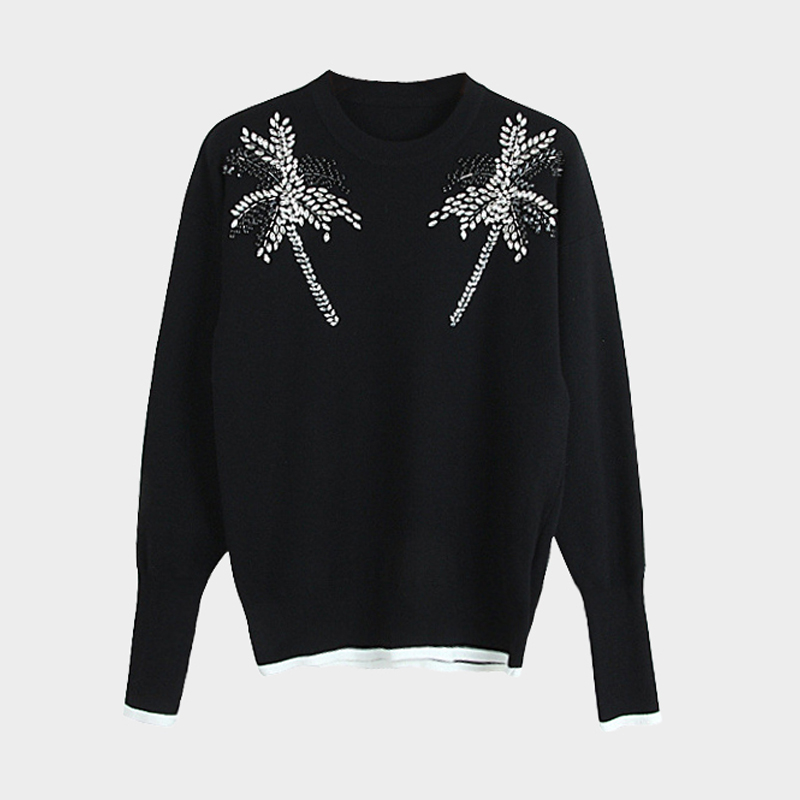 Women 2018 Autumn Fashion Designer Pullover Knitwear Rhinestone Hand Made Tree Knit Sweater 2018 Winter Fashion Women Sweater