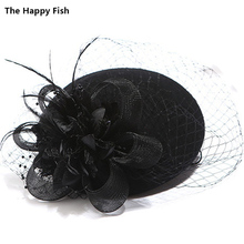 Charming Wool Black Simplicity Women Lady Classic Fascinator Hair Pillbox Hat Floral Felt Cocktail Party Wedding Church Fedora