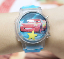 Hot Sale 1PC Cars Children Lovely Waterball LED Watches With Flashing Light And Calendar Boy's Cartoon Character Digital Watches