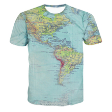 New Hipster World Map 3d T shirts Retro Globe Image of the Americas All Over Print Fashion Men Women Summer Hip Hop T shirt