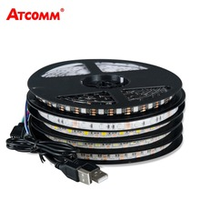 5V USB 5050 RGB LED Strip Light 60 LEDs/Meter 0.5M 1M 2M 3M 4M 5M LED Diode Tape Light Ribbon Lamp With 24 Key Remote Controller