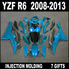 High quality parts for 08 09 10 11 12 13 YAMAHA R6 fairings 2008 2009 - 2013 YZF R6 new light blue black gray fairing kit RGF64