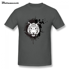 Summer Men T Shirt White Tiger Head Pictures Printed Short Sleeve O-neck 100% Cotton Tees Shirt Top Clothing   MTD017