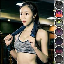 Adjustable Spaghetti Straps Women Fitness Bra Shakeproof Stretch brassiere Push Up Bras Top Seamless Padded Vest(China)