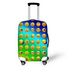 3D Expression Print Travel Bags Suitcase Case Comfortable Waterproof Portable Luggage Cover Cover