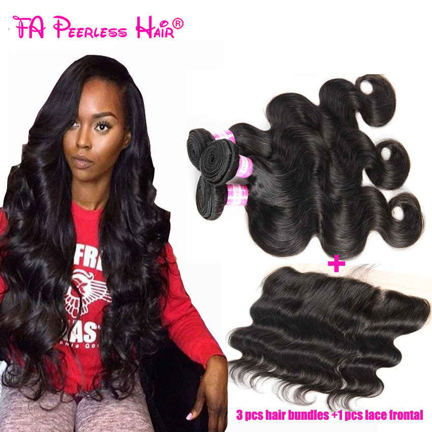 13X4 malaysian virgin hair body wave with frontal closure 7a human hair lace frontal closure with baby hair queen hair store<br><br>Aliexpress