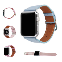 URVOI band for apple watch series 1 2 3 soft PU leather strap for iWatch comfortable feel with adapters pleasure color nice gift(China)