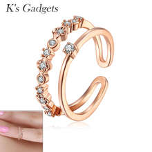 Double Finger Rings Knuckle Ring Flower Joint Toe Women 2015 New Fashion Nail Ring Rose gold  Silver color Anillo Doble Mjer