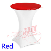 Red colour spandex top cover for round cocktail lycra table cloth wedding banquet party cocktail table decoration sale