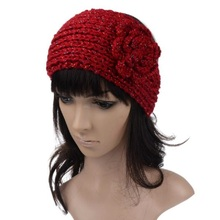 IMIXLOT New Fashion Winter IMIXLOT Fashion Crochet Flower Twist Knitted Hat for Women Flower Winter Head Caps Warme Accessories
