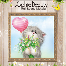 Sophie Beauty Diy Diamond Painting Cross Stitch Full Round Handcraft Courtship Cat Bouquet Love Balloon Needlework Mosaic Crafts