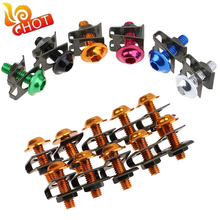 10x Universal Bike Scooters Nuts Bolts Motorcycle Fairing Body Bolts M6 6mm Spire Speed Fastener Clips Screw Spring Bolots Nuts
