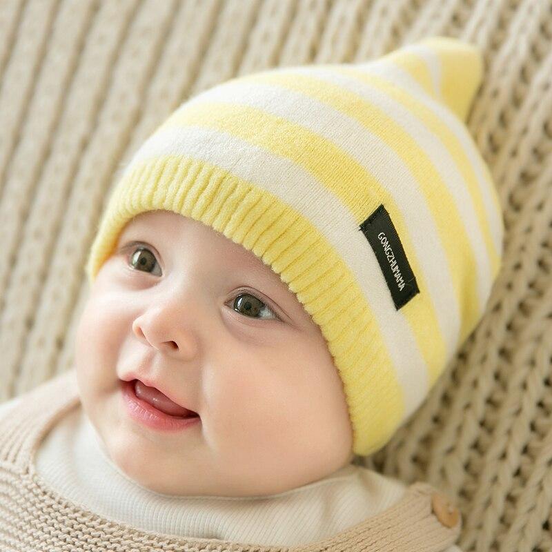 CieiK Newborn Photography Props Soft Baby Hat Warm Children Winter Cap Boys Girls beanie Infant Striped Muts Baby Accessories (16)