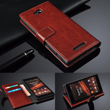 Retro Geniune Leather Case for SONY Xperia C S39H C2305 C 2305 2305 Luxury Wallet With Flip Stand Phone Bag Gift Touch Stylus(China)