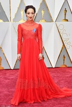 Ruth Negga Red Lace Celebrity Dress 89th Annual Academy Awards High Neck Long Chiffon Evening Dress Lace Sleeves Prom Party Gown
