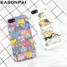 KASONPAI Cute Cartoon Cat Cases For iphone 6 7 Newest Fashion animal Cat Phone Cases For iphone 6S 7 7Plus Full protection Cover(China)