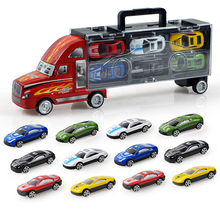Mylitdear Kawaii 1:43 Alloy Car Model Portable Plastic Container Truck 12pcs/lot MINI Metal Cars Toys For Children Birthday Gift(China)