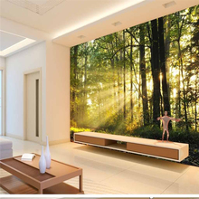 beibehang Personalized custom wallpaper scenery sunny forest sofa bedroom TV backdrop papel de parede 3d para sala atacado