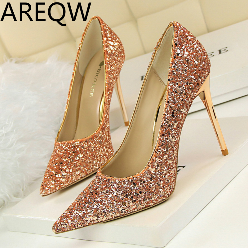 AREQW 2017 Europe and The United States Wind Shoes High Heel Shallow Mouth Pointed Shiny Sequins Sexy Thin Nightclubs High Heels<br><br>Aliexpress